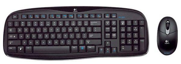 Комплект (клавиатура+мышь) LOGITECH EX100, USB, беспроводной, черный [967713-0112]