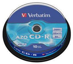 Оптический диск CD-R VERBATIM 700Мб 52x, 10шт., cake box [43429]