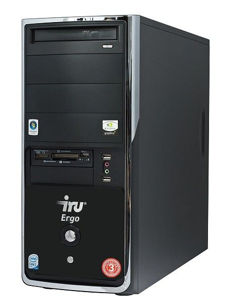 IRU Ergo Home 124,  Intel  Core2 Duo  E7300,  DDR2 2Гб, 250Гб,  nVIDIA GeForce 9600 GSO - 384 Мб,  DVD-RW,  CR,  Windows Vista Home Basic,  черный [460711143183]