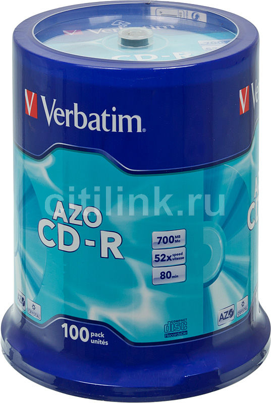 Оптический диск CD-R VERBATIM 700Мб 52x, 100шт., cake box [43430] verbatim music cd r в киеве