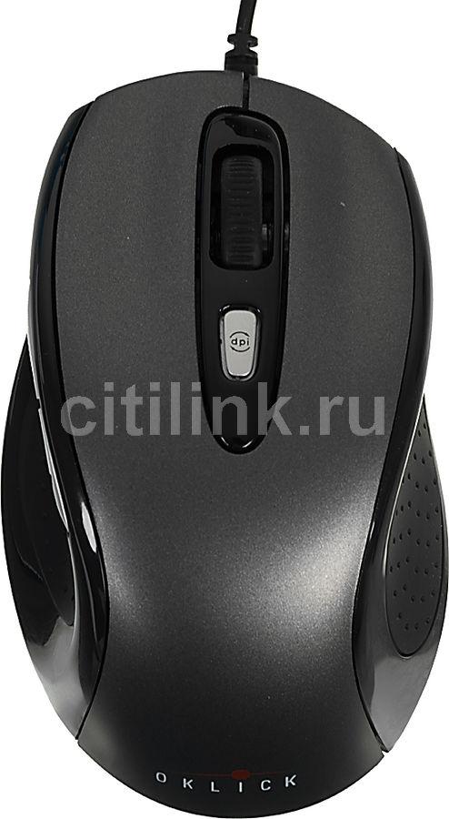 Мышь OKLICK 404 M оптическая проводная USB, черный и серый