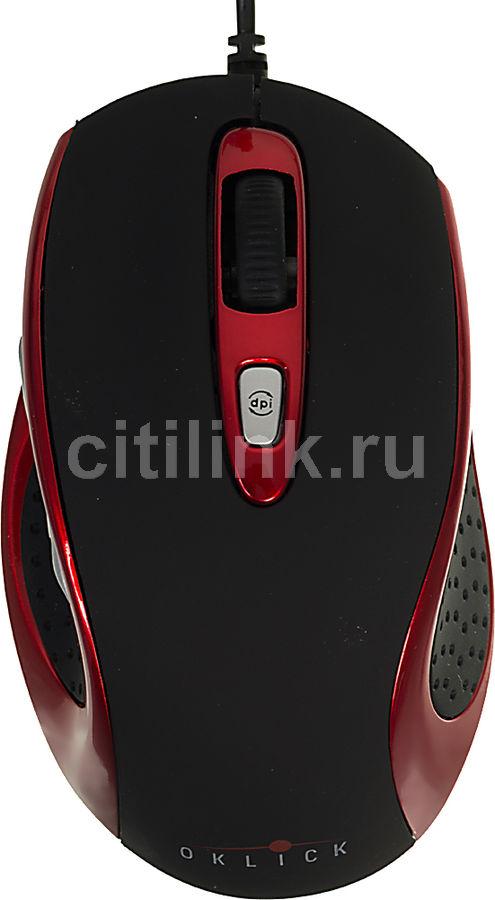 Мышь OKLICK 404 S оптическая проводная USB, черный и красный