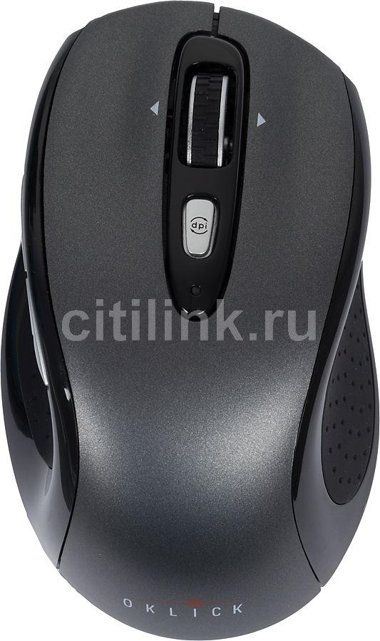 Мышь OKLICK 404 MW лазерная беспроводная USB, черный и темно-серый