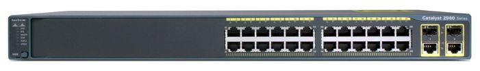 Коммутатор Cisco Catalyst 2960 24 10/100 PoE + 2 T/SFP LAN Base Image (WS-C2960-24PC-L)