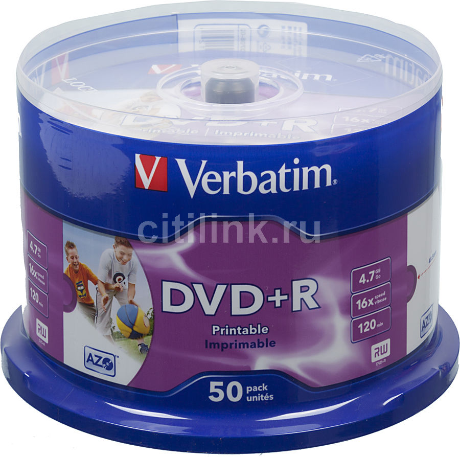 Оптический диск DVD+R VERBATIM 4.7Гб 16x, 50шт., cake box, printable [43512] dvd r vs 4 7gb 16х 10шт cake box