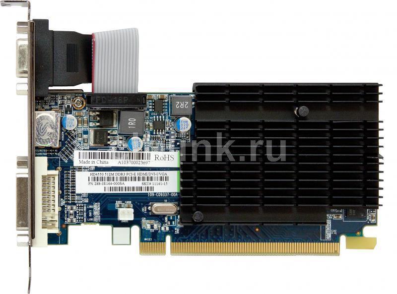 Видеокарта SAPPHIRE Radeon HD 4550,  512Мб, DDR3, Low Profile,  oem [11141-xx-10r]