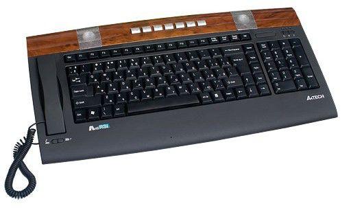 Клавиатура A4 KIP-900-2,  USB, c подставкой для запястий, черный коричневый [kip-900-2 black+wood usb]