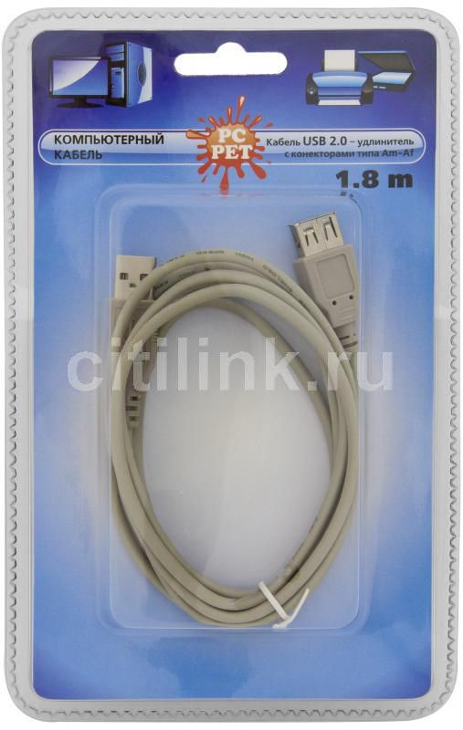 Кабель-удлинитель USB2.0 PC PET USB A (m) -  USB A (f),  1.8м,  блистер,  серый [usamaf0-18]