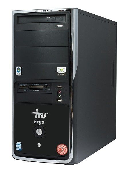 IRU Ergo Home 123,  Intel  Core2 Duo  E7300,  DDR2 2Гб, 320Гб,  nVIDIA GeForce 9600 GT - 512 Мб,  DVD-RW,  CR,  Windows Vista Home Premium,  черный