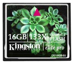 Карта памяти CF KINGSTON Elite Pro 16 ГБ, CF/16Gb-S2,  1 шт.