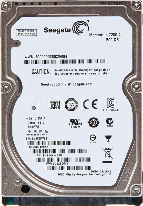 Жесткий диск SEAGATE Momentus 7200.4 ST9500420AS,  500Гб,  HDD,  SATA II,  2.5