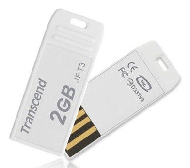 Флешка USB TRANSCEND Jetflash T3 2Гб, USB2.0, белый [ts2gjft3w]