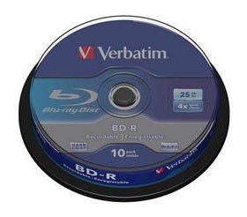 Оптический диск BD-R VERBATIM 25Гб 4x, 10шт., cake box [43689]