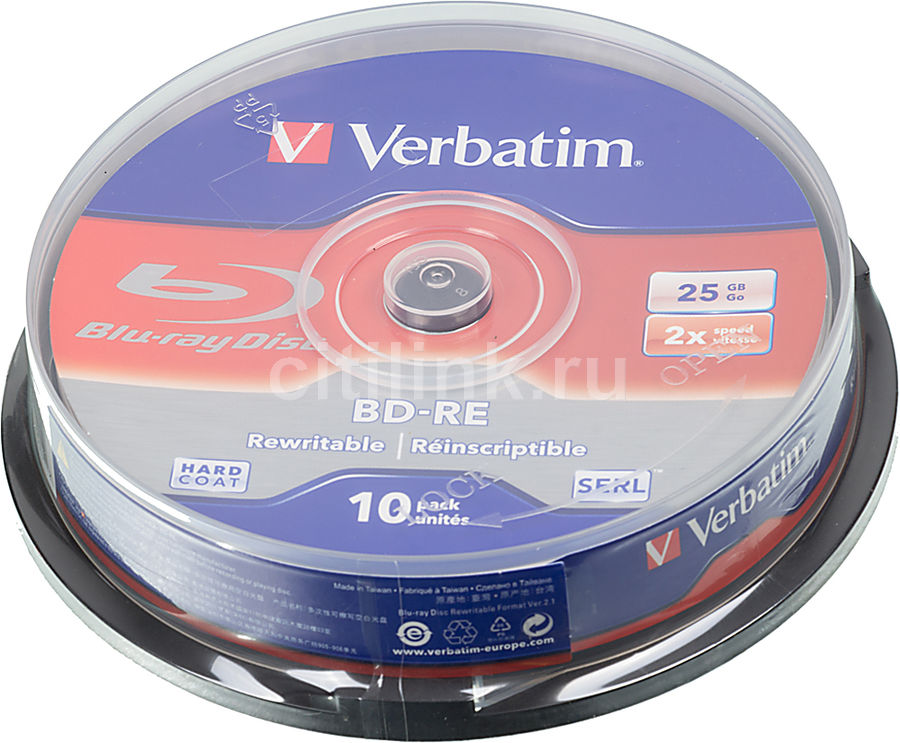 Оптический диск BD-RE VERBATIM 25Гб 2x, 10шт., cake box [43694]