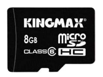 Карта памяти microSDHC KINGMAX 8 ГБ, Class 6, 1 шт., переходник miniSD и SD