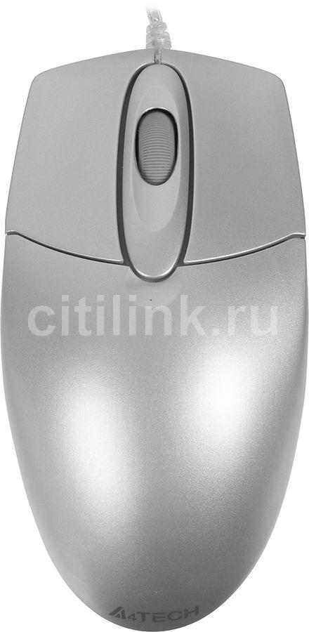 Мышь A4 OP-720 3D, оптическая, проводная, USB, серебристый [op-720 usb (silver)]