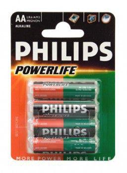 Батарея PHILIPS PowerLife LR6,  4 шт. AA