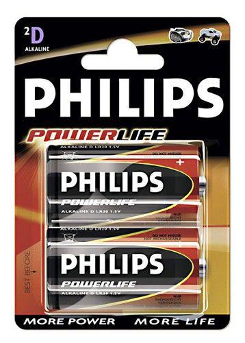 Батарея PHILIPS PowerLife LR20,  2 шт. D
