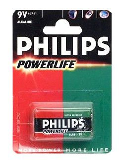 Батарея PHILIPS PowerLife 6LR61,  1 шт. 9V