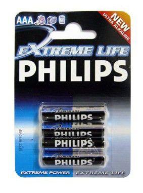 Батарея PHILIPS ExtremeLife LR03,  4 шт. AAA