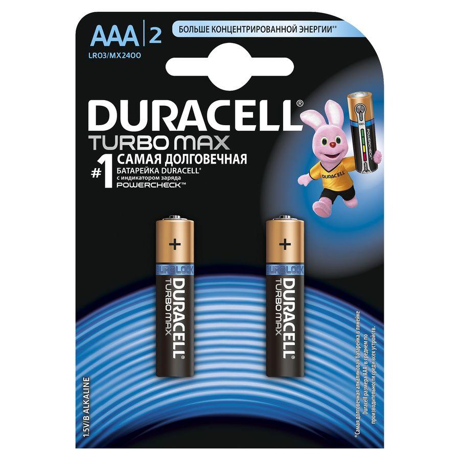 Батарея DURACELL Turbo MAX LR03-2BL,  2 шт. AAA