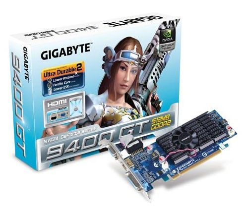 Видеокарта GIGABYTE GeForce 9400 GT,  512Мб, DDR2, Ret [gv-n94t-512i]
