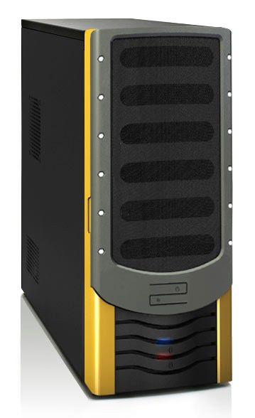 Корпус ATX FOXCONN ZL-142A, 500Вт,  черный и желтый