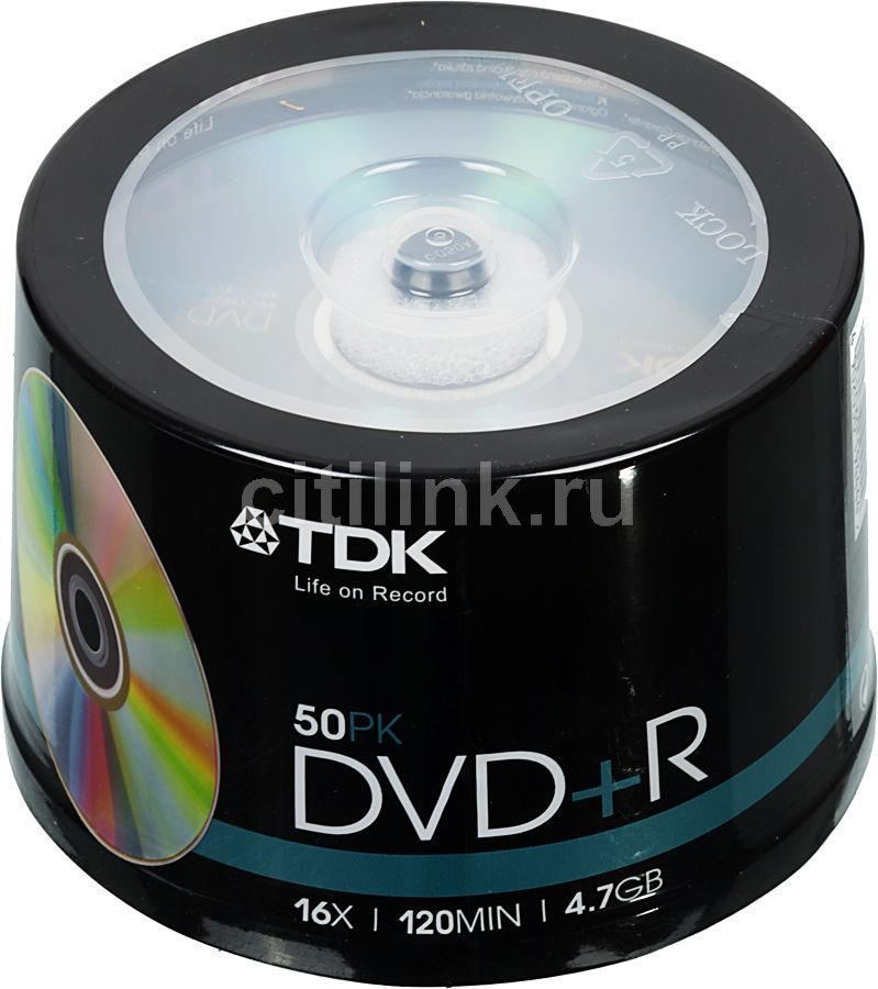 Оптический диск DVD+R TDK 4.7Гб 16x, 50шт., cake box [t19444]