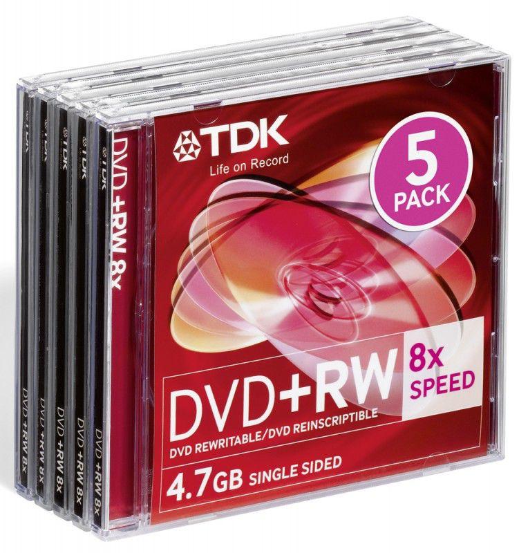 Оптический диск DVD+RW TDK 4.7Гб 8x, 5шт., full jewel case [t19352]