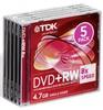 Оптический диск DVD+RW TDK 4.7Гб 8x, 5шт., full jewel case [t19352] вид 1