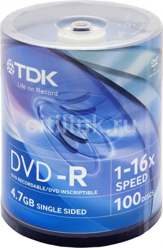 Оптический диск DVD-R TDK 4.7Гб 16x, 100шт., cake box [t19479]