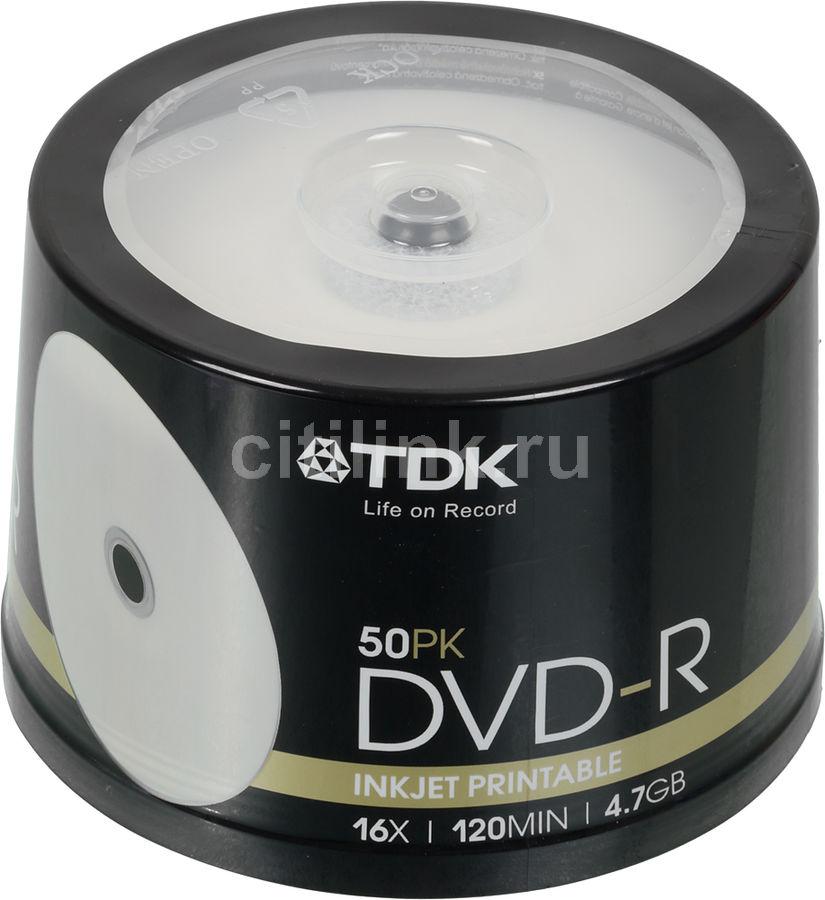 Оптический диск DVD-R TDK 4.7Гб 16x, 50шт., cake box, printable [t19914]