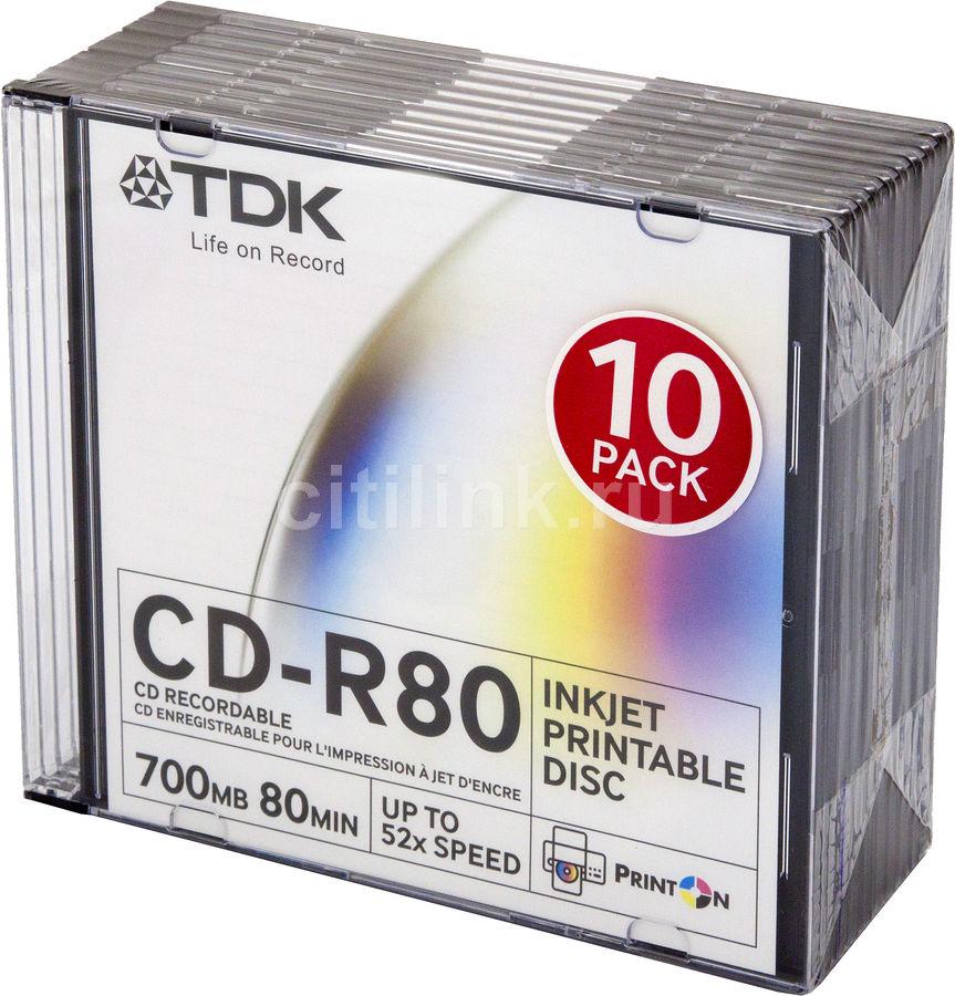 Оптический диск CD-R TDK 700Мб 52x, 10шт., slim jewel case, printable [t19865]