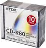 Оптический диск CD-R TDK 700Мб 52x, 10шт., slim jewel case, printable [t19865] вид 1