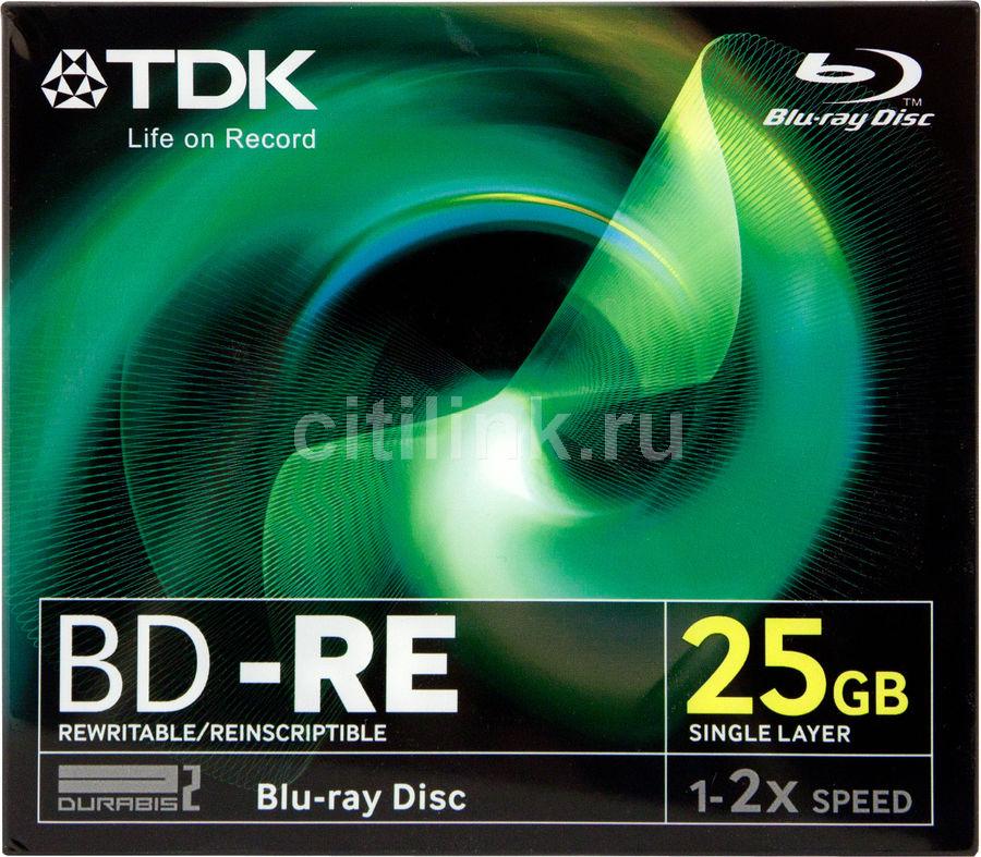 Оптический диск BD-RE TDK 25Гб 2x, 5шт., t19798, full jewel case