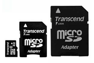 Карта памяти microSDHC TRANSCEND 4 ГБ, Class 6, TS4GUSDHC6-2,  1 шт., переходник miniSD и SD