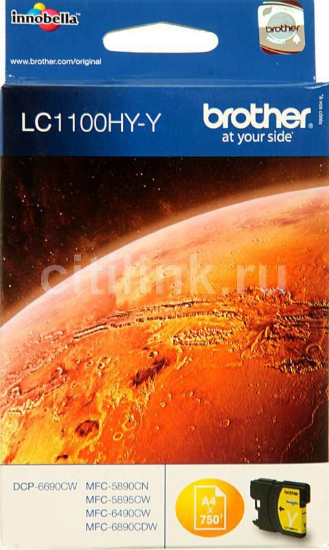Картридж BROTHER LC1100HYY желтый картридж brother lc3619xly желтый