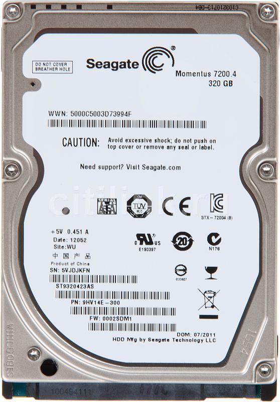 Жесткий диск SEAGATE Momentus 7200.4 ST9320423AS,  320Гб,  HDD,  SATA II,  2.5