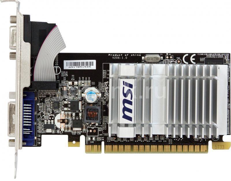 Видеокарта MSI nVidia  GeForce 8400 GS ,  512Мб, DDR2, Low Profile,  Ret [n8400gs-d512h]