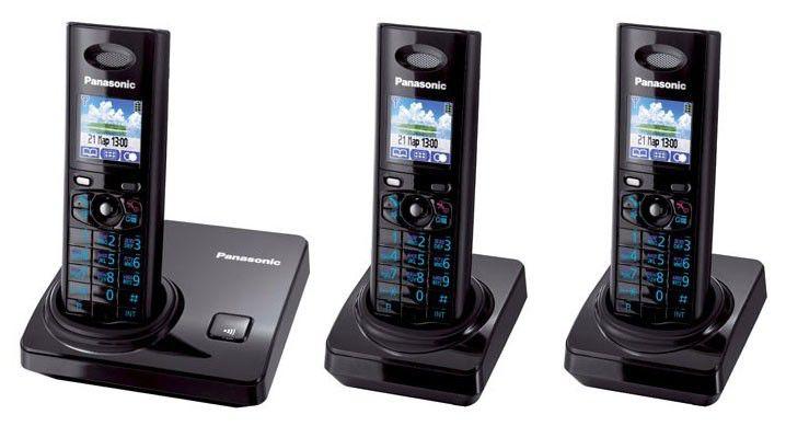 Радиотелефон PANASONIC KX-TG8206RUB-P,  черный [kit-kx-tg8206rub-p]