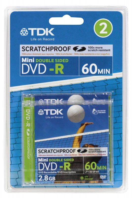 Оптический диск DVD-R TDK 2.8Гб 2x, 2шт., blister pack, scratch proof [t19910]