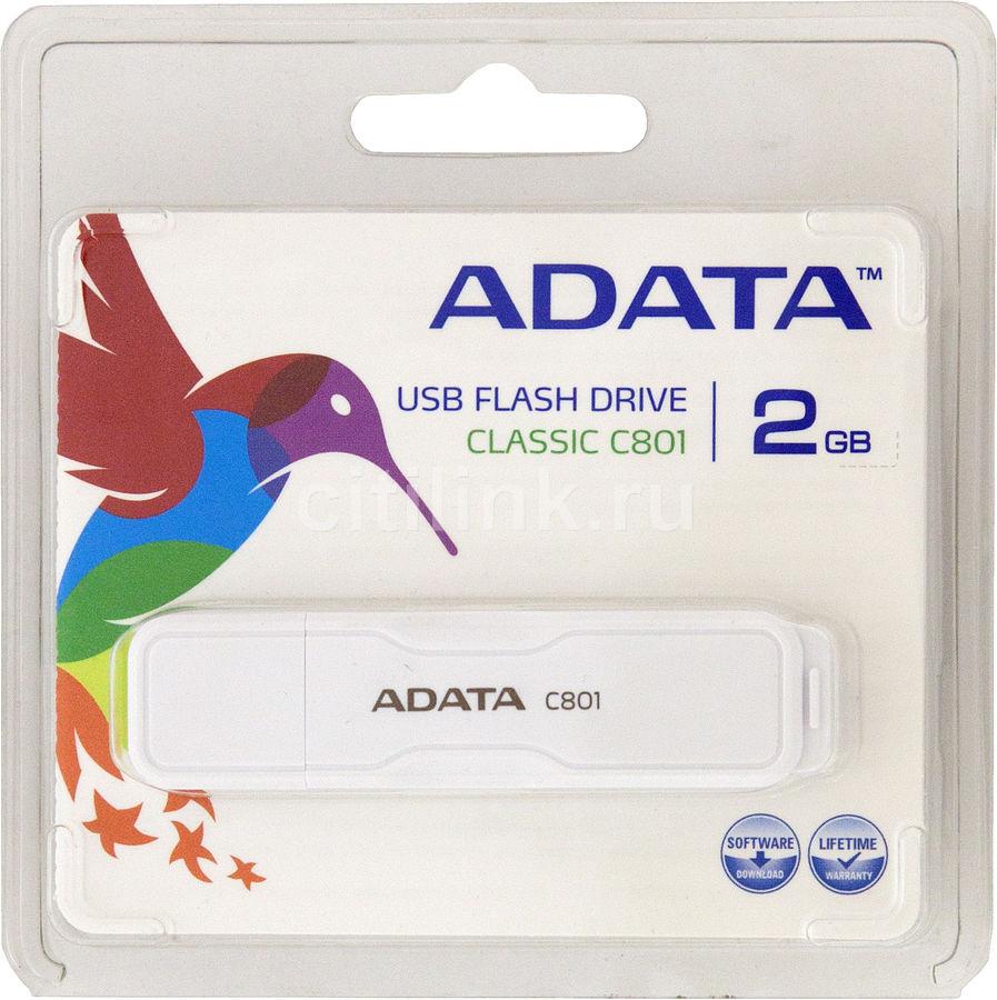 Флешка USB A-DATA Classic C801 2Гб, USB2.0, белый