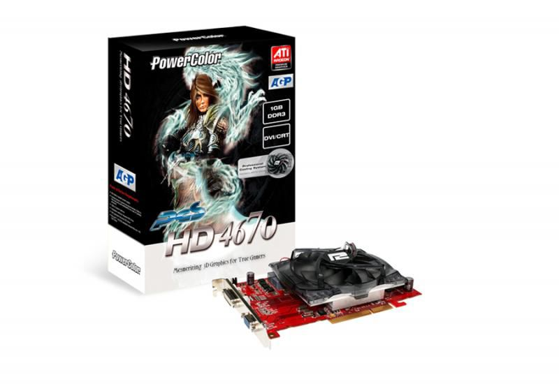 Видеокарта POWERCOLOR Radeon HD 4670, AG4670 1GBK3-PV2,  1Гб, DDR3, oem