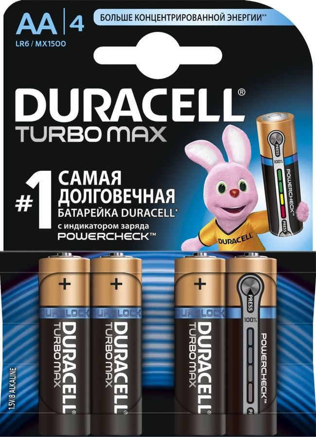 Батарея DURACELL Turbo MAX LR6-4BL, 4 шт. AA sanyo 18650 2800mah rechargeable battery orange 2 piece pack