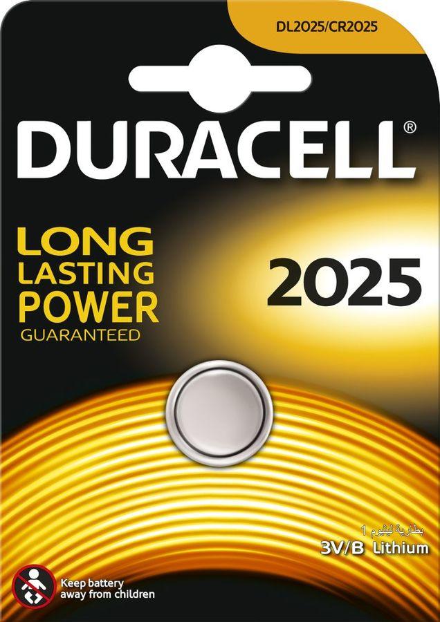 CR2025 Батарейка DURACELL DL2025,  1 шт.