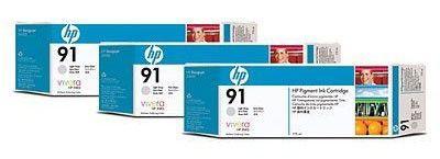 Тройная упаковка картриджей HP №91 C9482A,  светло-серый