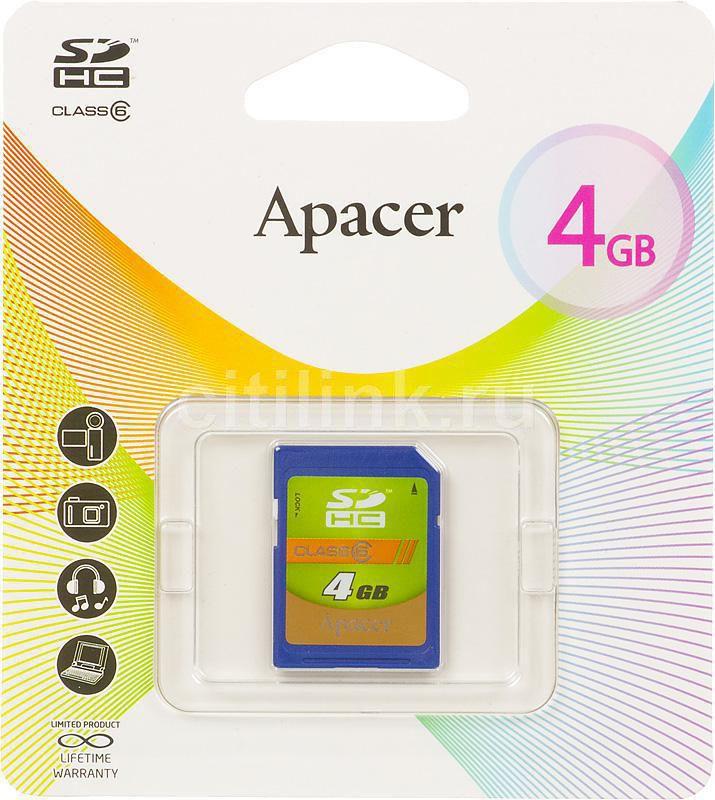 Карта памяти SDHC APACER 4 ГБ, Class 6, AP4GSDHC6-R,  1 шт.