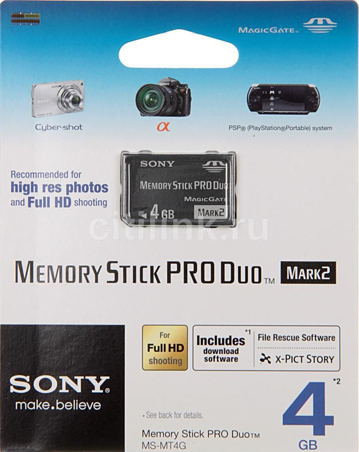 Карта памяти Memory Stick Pro Duo SONY Mark2 4 ГБ, MSMT4G/Т,  1 шт. [msmt4gn]