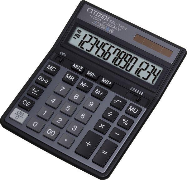 Калькулятор CITIZEN SDC-740N,  14-разрядный, темно-серый
