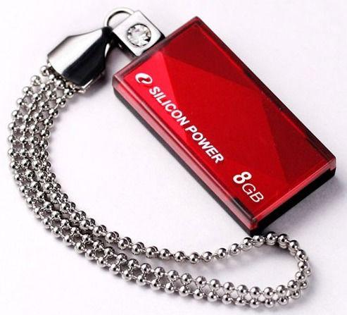 Флешка USB SILICON POWER Touch 810 8Гб, USB2.0, красный [sp008gbuf2810v1r]